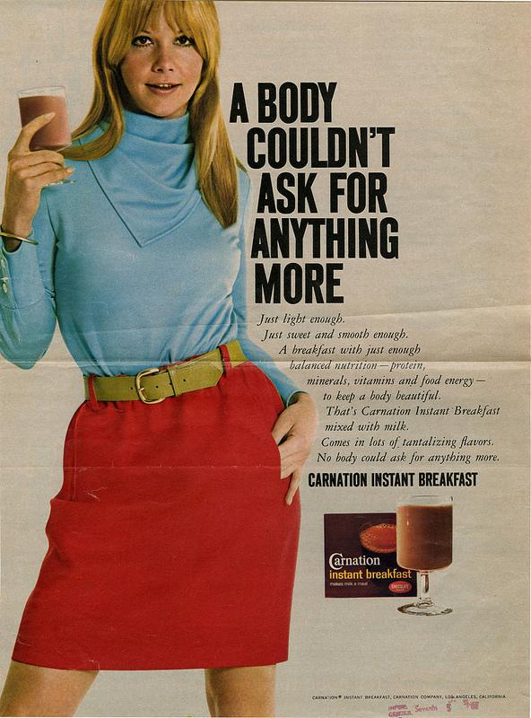 A 1968 ad for Carnation instant breakfast, from Duke's  Hartman Center archives.