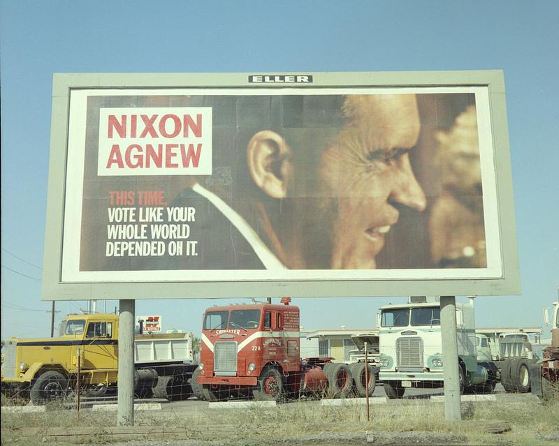 A Nixon-Agnew billboard from 1968, like ones the Mad Men characters would have seen.