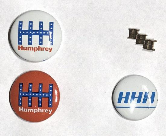 "HHH"" Hubert Humphrey presidential campaign buttons from 1968"