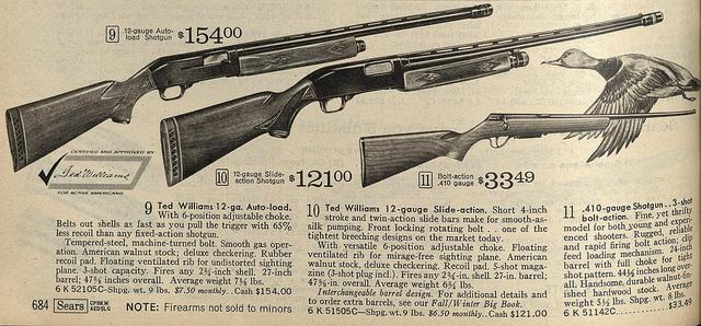 A shotgun ad that the Hartman Center found in the Sears, Roebuck & Co. Catalog from the spring of 1968.