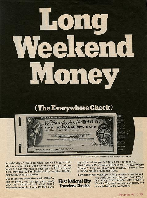 A 1968 Newsweek ad for travelers checks.