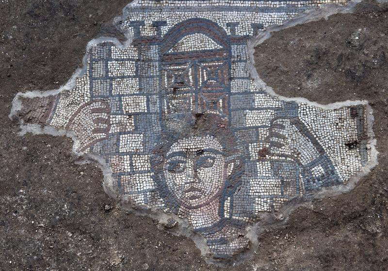 Mosaic showing Samson carrying the gate of Gaza, from the Huqoq excavations of 2013, directed by Jodi Magness.