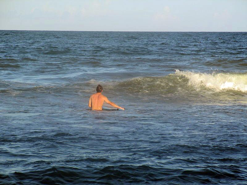 A beach swimmer on the Carolina coast. Officials warn of strong rip tide currents.