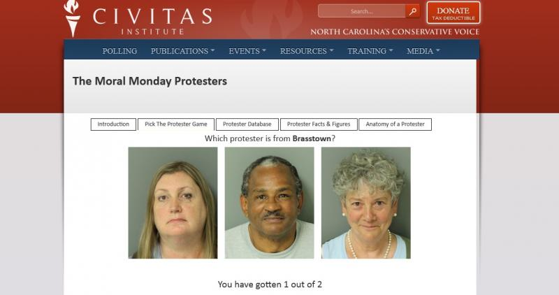 Screen shot of the 'Pick the Protester Game' on the Civitas website.