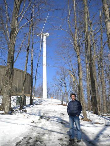 App State Profesor Dennis Scanlin and wind turbine