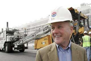 Humpy Wheeler oversees Charlotte Motor Speedway construction.