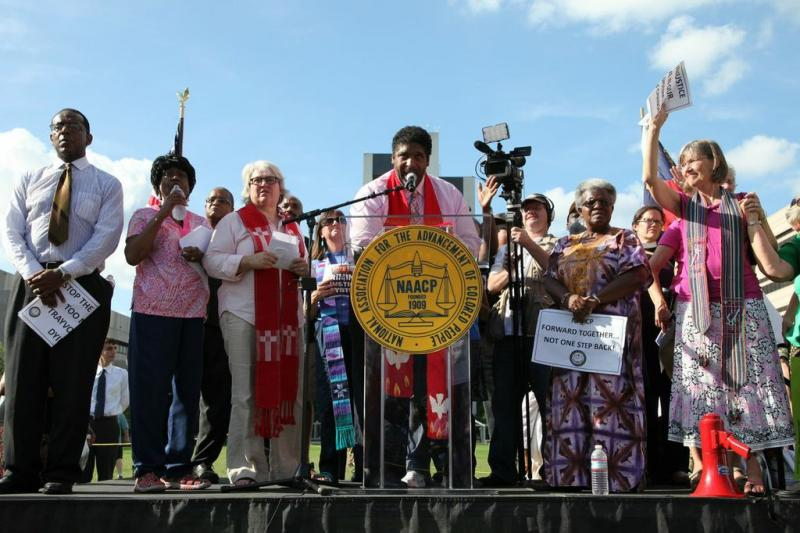 Reverend William Barber led another Moral Mondays protest at the capitol.