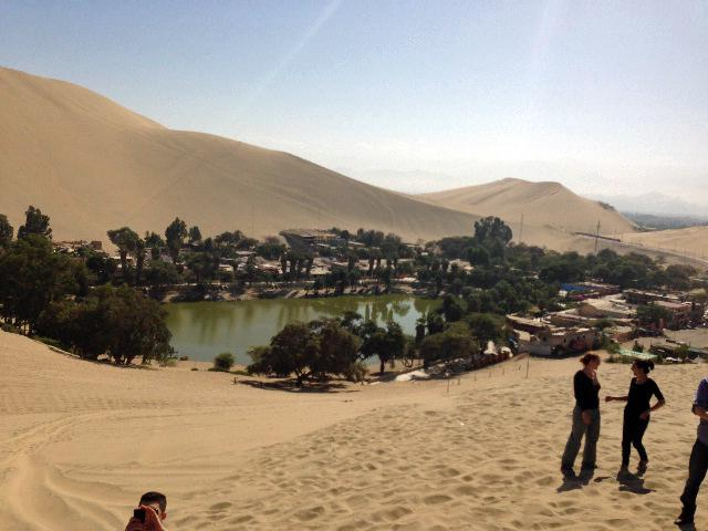 The group spent time at an oasis in the desert near Ica, six hours south of Lima.