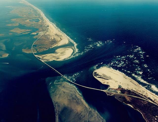 An aerial photo of Bonner Bridge.
