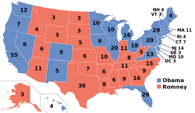 Map of the distribution of electoral college votes in the 2012 Presidential Election.