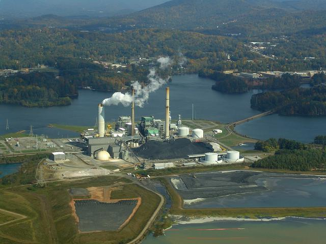 A Duke Energy power plant and coal ash ponds outside Asheville.
