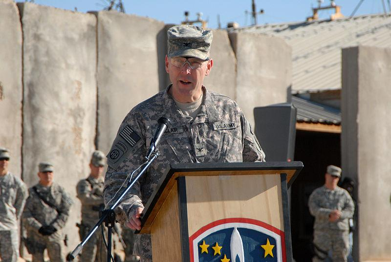 A 2008 photo of Jeffrey Sinclair giving remarks during the transfer of authority ceremony at Forward Operating Base Kalsu, Iraq.