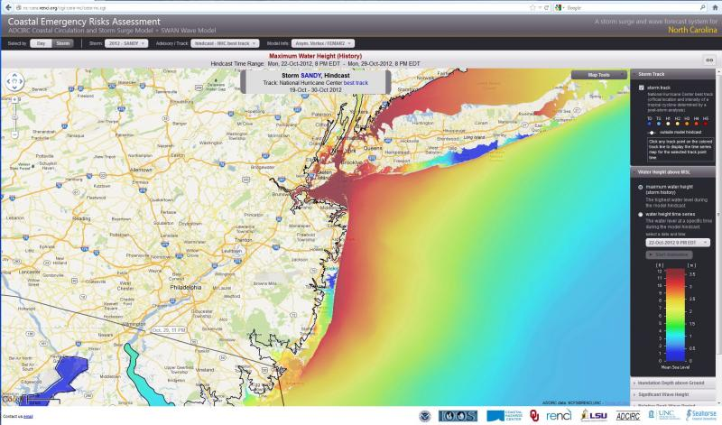 A screen shot from the Surge Guidance System shows storm surge data from Hurricane Sandy, which hit the east coast in October 2012.