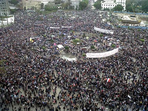 Protests taking place in Tahrir Square in 2011