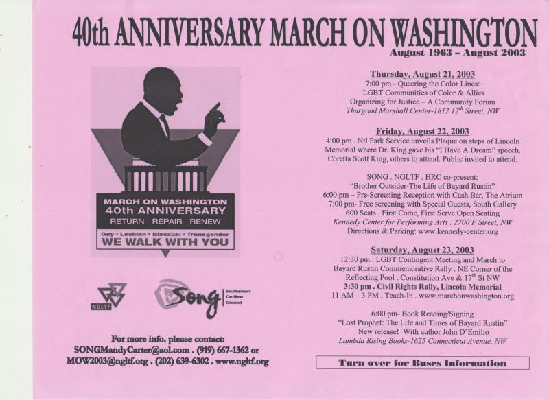 Program for the 40th Anniversary of the March on Washington