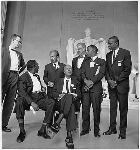 Civil Rights Leaders at the March on Washington in 1963  (from right to left) Mathew Ahmann, Cleveland Robinson, Rabbi Joachim Prinz, A. Philip Randolph, Joseph Rauh Jr., John Lewis, Floyd McKissick