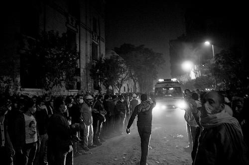 Ambulance cars arriving in Mohamed Mahmoud Street to carry the injured and the dead, as the uprising entered its fourth day on Tuesday...