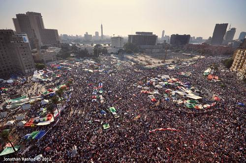 On June 24 tens of thousands of Muslim Brotherhood supporters gathered in Tahrir Square to celebrate the victory of their candidate Mohamed Morsi, who was announced Egypt's president by the electoral commission around 5pm.