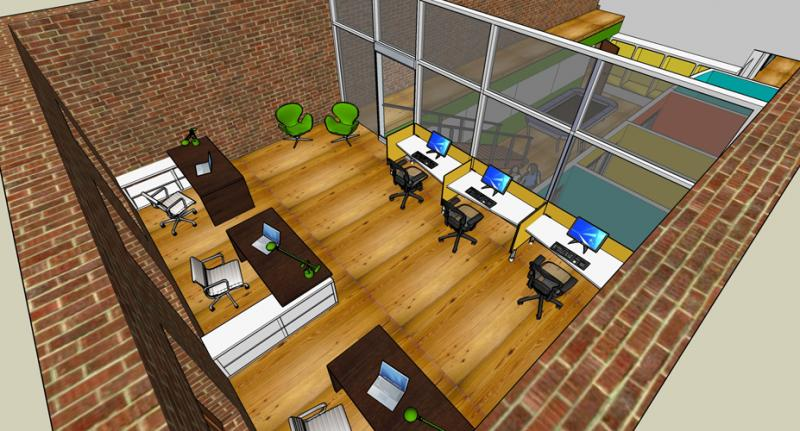 An architect's rendering of American Underground's offices planned for Raleigh.
