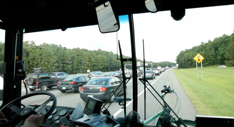 A bus participating in the Bus on Shoulder System (BOSS) program.