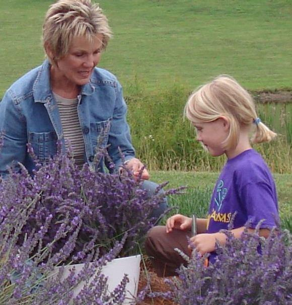 Visitors harvest lavender at Bluebird Hill Farm in Chatham County. Agritourism.