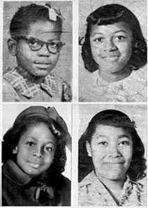 The four girls killed in the bombing (Clockwise from top left, Addie Mae Collins, Cynthia Wesley, Carole Robertson and Denise McNair)