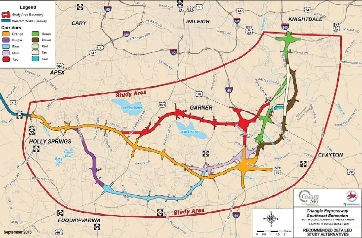 The NCDOT is showing color coded routes under consideration for the 540 extension from Holly Springs to Knightdale.