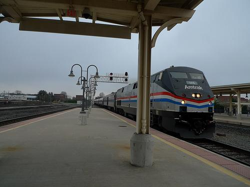 An Amtrak train arrives in Greensboro