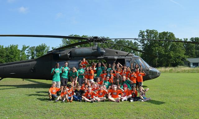 The NC National Guard visits a 4-H camp.