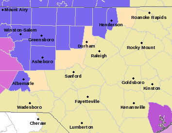 A winter weather advisory (purple) remains in effect for areas west of the Triangle.
