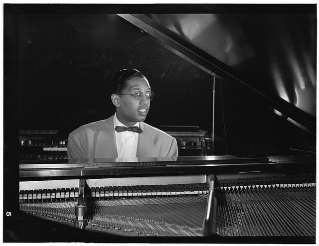 Black and White Portrait of Billy Taylor sitting at piano, New York, N.Y., ca. 1947