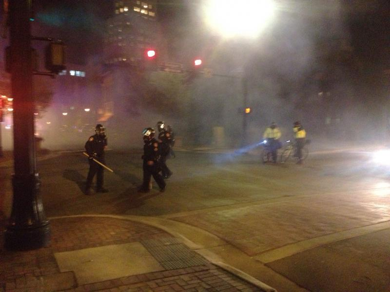 Police used tear gas and smoke bombs on those assembled.