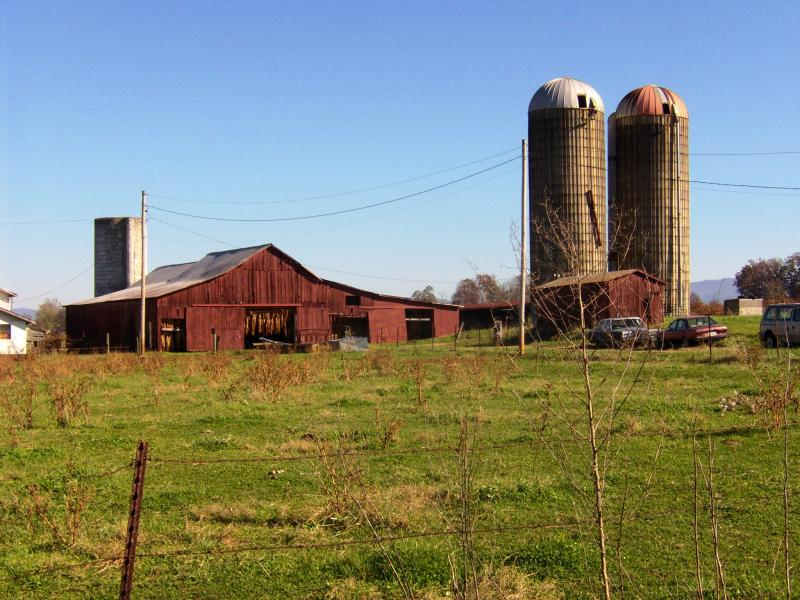 Tobacco barn and silos.