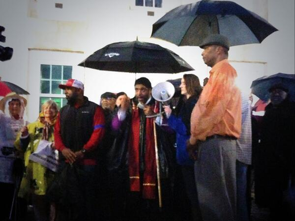 Photo: The Rev. William Barber outside the North Carolina State Capitol building.