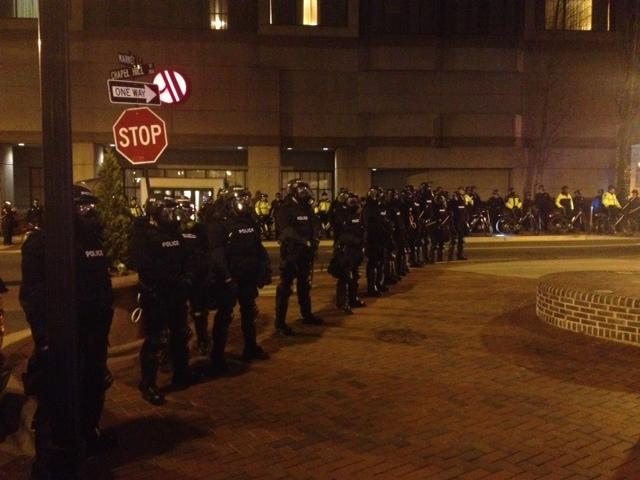 Durham Police in riot gear.