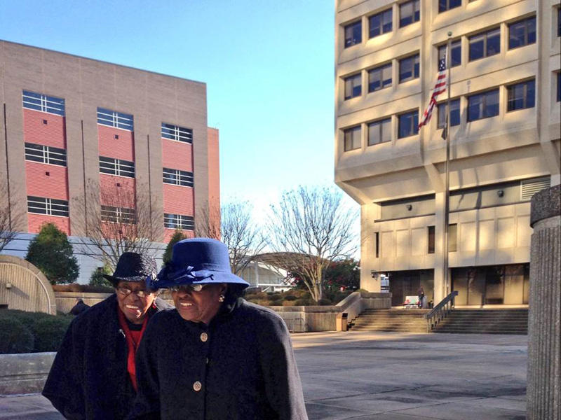 Rosanell Eaton, 92, and Mary E. Perry, 84, attended U.S. District Court in Winston-Salem for Thursday's scheduling hearing.