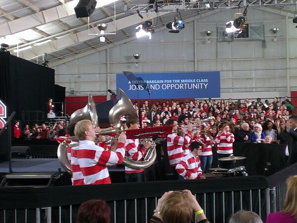 NC State's Pep Band warms up the crowd of people waiting to hear President Obama speak today at the University.