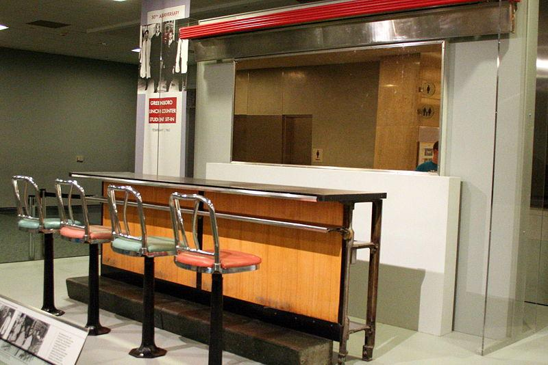 The lunch counter where Greensboro students staged a civil rights sit-in protest on display in the National Museum of American History in Washington DC.