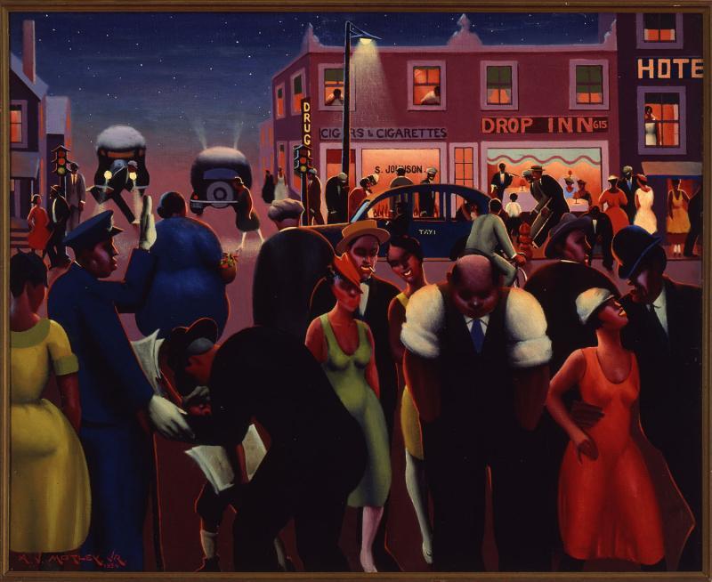 Archibald J. Motley Jr., Black Belt, 1934. Oil on canvas, 33 x 40.5 inches (83.8 x 102.9 cm). Collection of the Hampton University Museum, Hampton, Virginia. © Valerie Gerrard Browne.