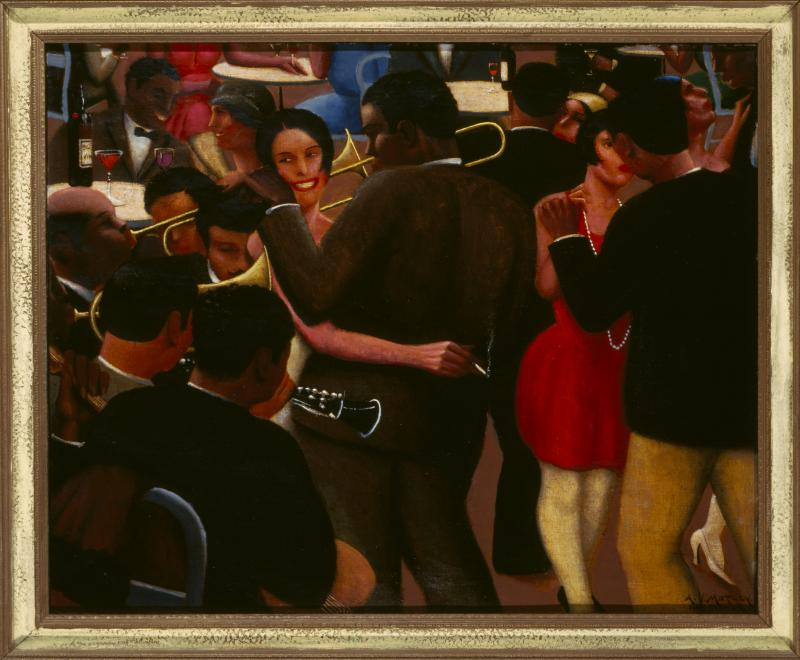 Archibald J. Motley Jr., Blues, 1929. Oil on canvas, 36 x 42  inches (91.4 x 106.7 cm). Collection of Mara Motley, MD, and Valerie Gerrard Browne. Image courtesy of the Chicago  History Museum, Chicago, Illinois. © Valerie Gerrard Browne.