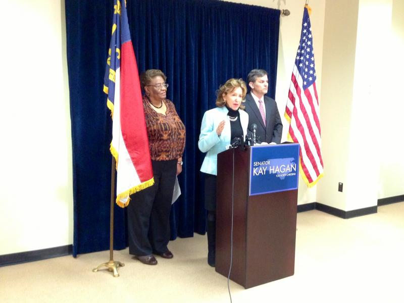 U.S. Sen. Kay Hagan, flanked by state Rep. Rosa Gill (D-Wake) and state Sen. Josh Stein (D-Wake)