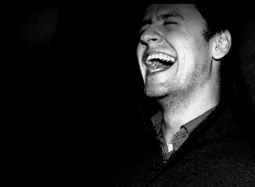 David Pizarro black and white photo, laughing