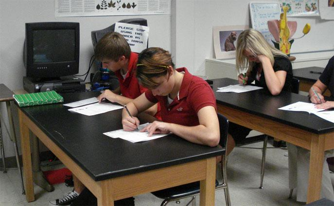 A common sight in almost every school -- students taking a test