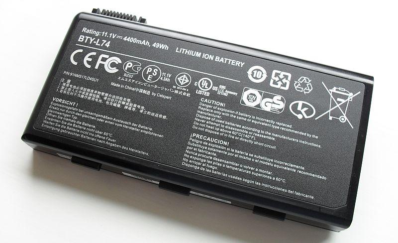 Lithium ion battery from a laptop computer