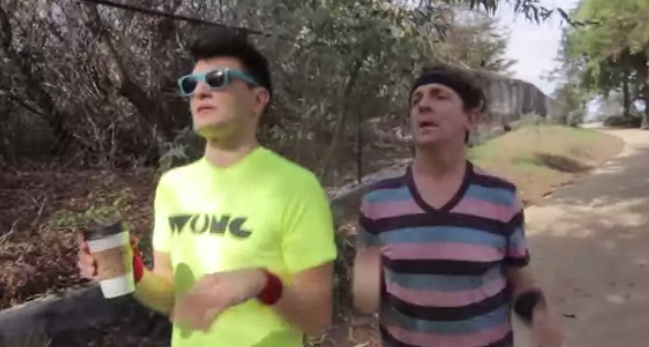 Screenshot from Funny or Die video. Is that a WUNC T-shirt?