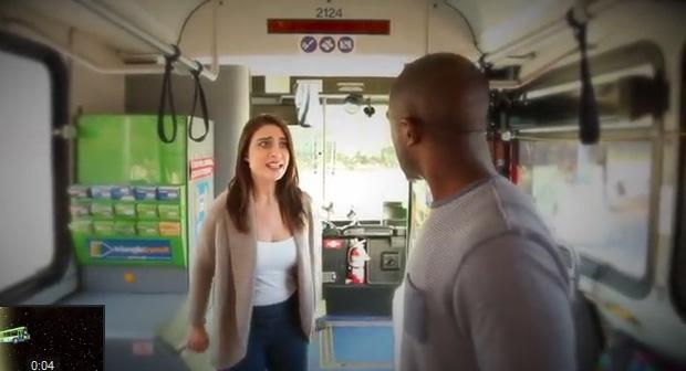 A still from the online soap opera, As The Bus Stops