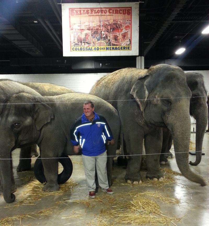Joey Frisco is a third generation elephant handler.