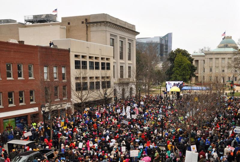 Thousands marched to the North Carolina State Capitol building on Saturday.