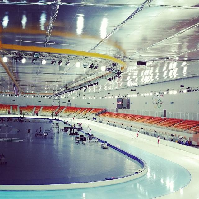 Empty speed skating rink at the Sochi Olympics