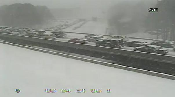 This still shot from the traffic cameras on I-40 show heavy, stalled traffic. (Image taken at 12:59 p.m.)